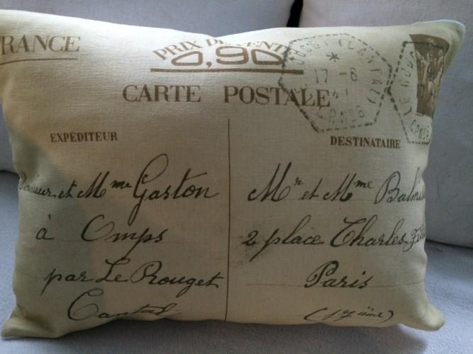 "Coussin en lin ancien ""carte postale M. & Mme Gaston"""