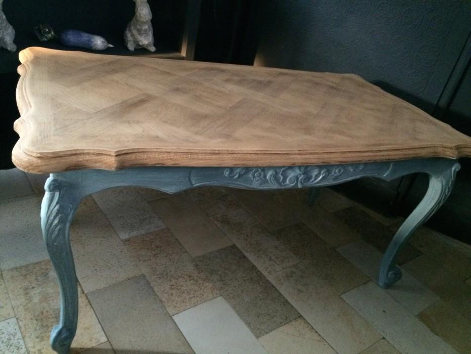 Table basse style louis xv patine gustavienne gris bleu plateau brut belette en compagnie - Table basse style louis xv ...