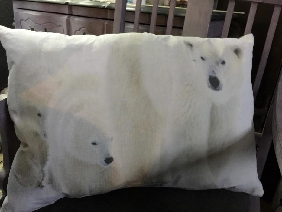 Grand coussin lin ancien animaux du froid numéro 2