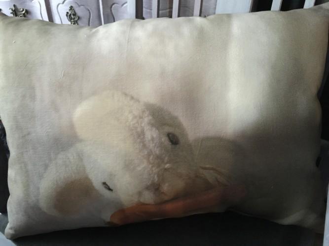 Coussin lin ancien lapinou