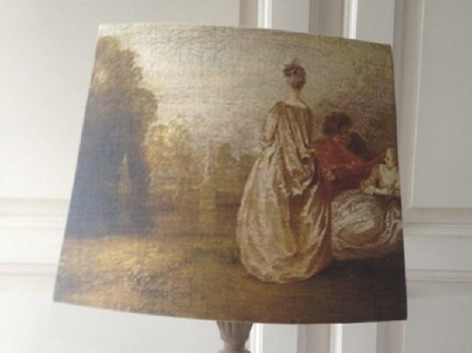 Abat Jour Ancien abat jour pans coupés lin ancien peinture époque xviiie - belette en