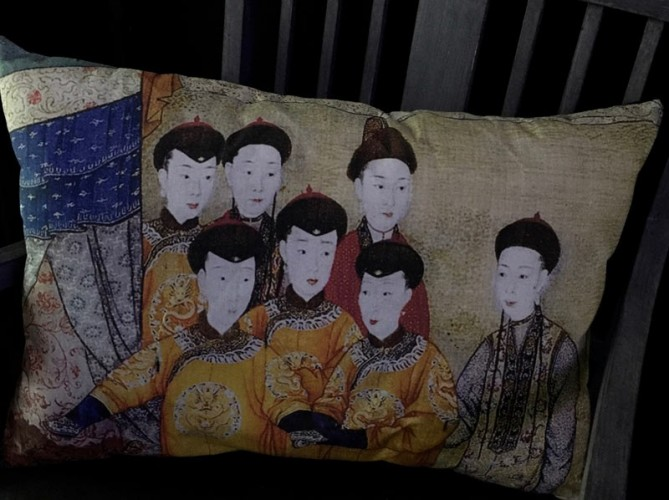 Coussin lin ancien empereurs chinois XVIIe