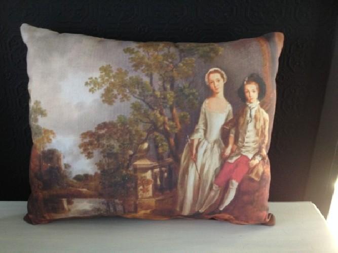 Coussin lin ancien tableau XVIIIe Thomas Gainsborough