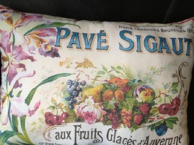 Coussin lin ancien publicité ancienne pâtes de fruits