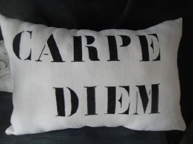 """Coussin lin ancien peint """"Carpe Diem"""""""