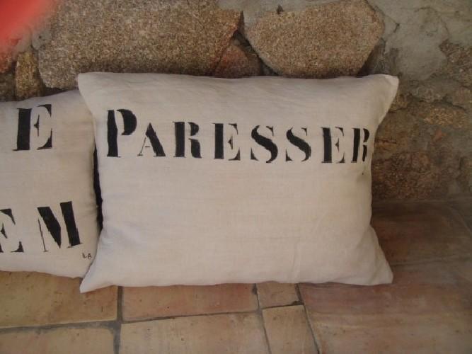 """Coussin lin """"Paresser"""""""