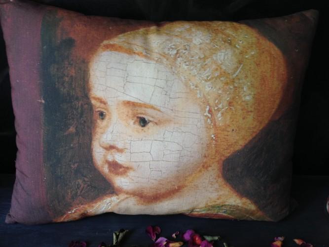 Coussin lin ancien portrait XVIIe
