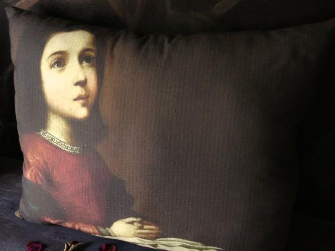 Coussin lin ancien portrait Vierge enfant