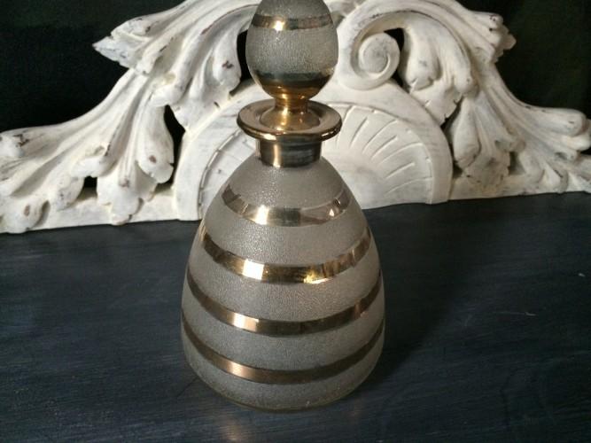 Flacon ancien art déco verre granité et feuille d'or